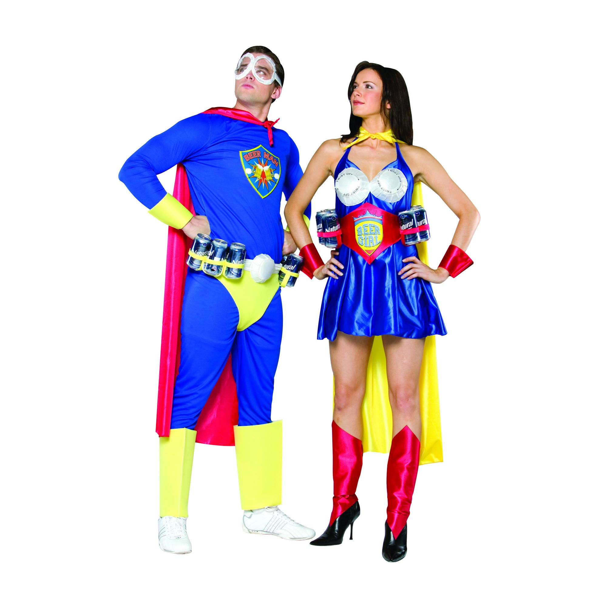 Adult Super Beer Man and Girl Halloween Costumes