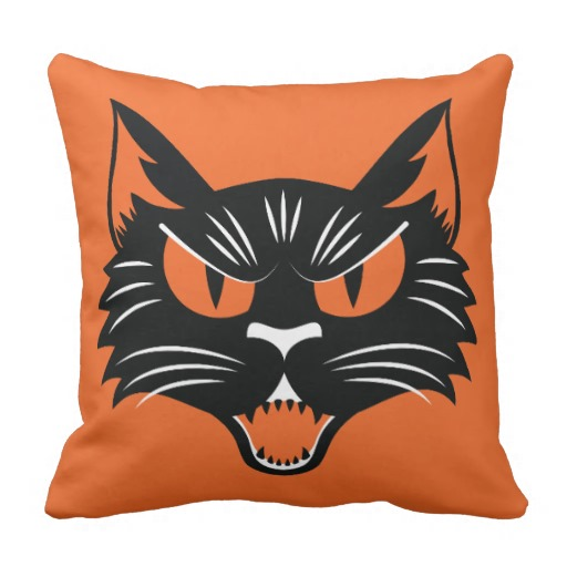 Halloween Black Cat Throw Pillows